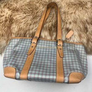 Coach Vintage Plaid Handbag Shoulder Bag Tan